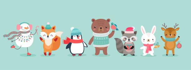 크리스마스 문자-동물, 눈사람, 산타 클로스. - 가공의 인물 stock illustrations