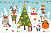 Christmas characters around the Christmas tree - vector illustration, eps