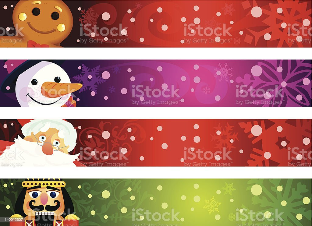 Christmas characters banners royalty-free stock vector art
