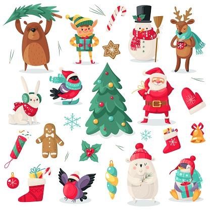 Christmas characters. Cartoon animals bullfinch, bear and penguin, gift. Santa and snowman, holiday tree, elf and deer new year vector set