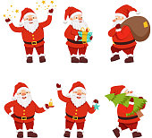 Christmas characters collection of cute santa in different action poses. Santa claus characterin red costume, vector illustration
