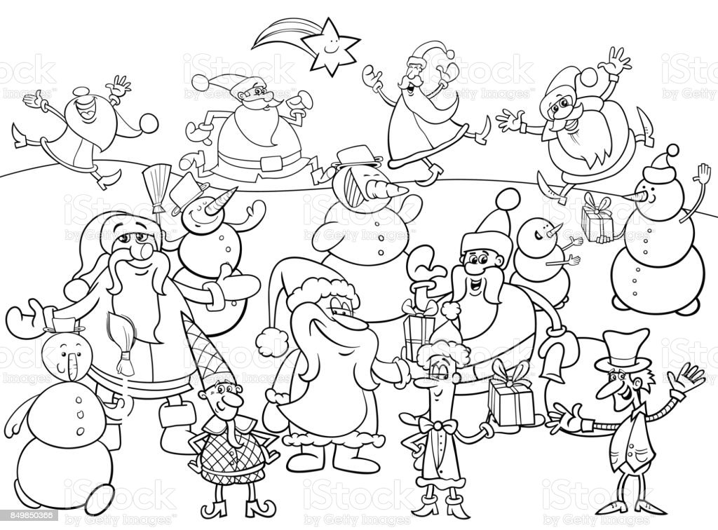 christmas characters group coloring book royalty free christmas characters group coloring book stock vector art