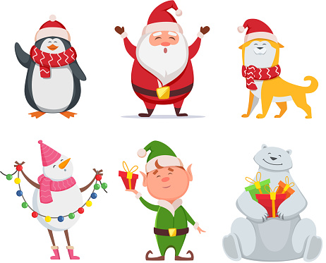 Christmas characters in cartoon style. Santa, yellow dog, elf. Penguin and snowman