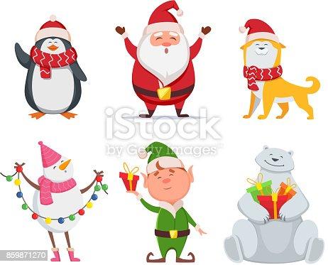 Christmas characters in cartoon style. Santa, yellow dog, elf. Penguin and snowman. Holiday cute bear and santa claus. Vector illustration