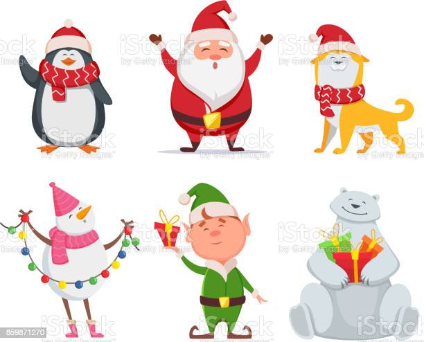 Christmas characters in cartoon style santa yellow dog elf penguin vector id859871270?b=1&k=6&m=859871270&s=612x612&h=5jrcl0hcgsc8qdgxcsfk3erew5lfq6k3xpzesrew a8=