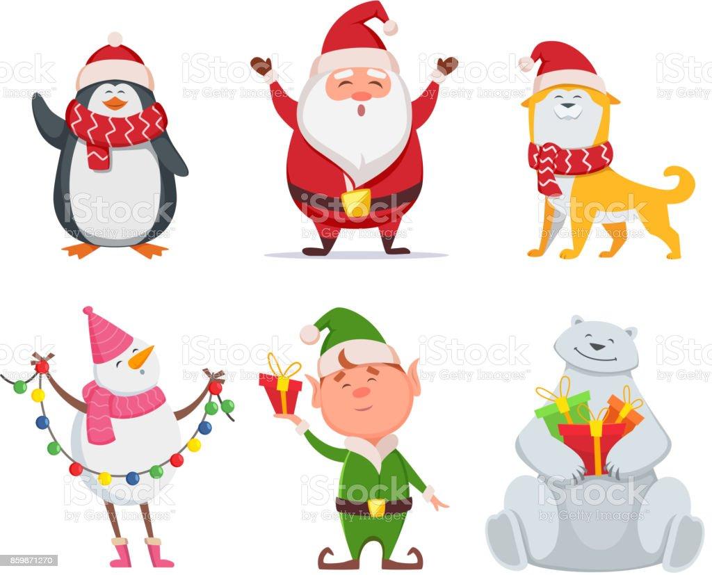 Personnages de Noël en style cartoon. Santa, chien jaune, elf. Pingouin et bonhomme de neige - Illustration vectorielle