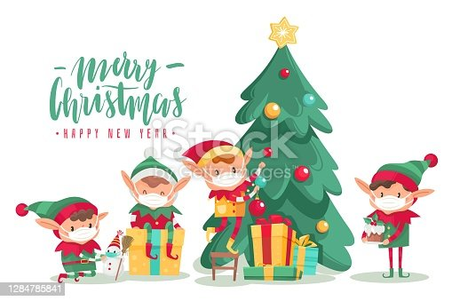 Christmas characters wearing masks poster. Cartoon vector elves in protective mask, decorated tree with new year gifts. Antiviral protective measure, stop spread viruses and beware epidemic covid-19