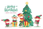 istock Christmas characters in masks poster. Cartoon vector elves in protective mask, decorated tree with gifts. Antiviral protective measure, stop spread viruses and beware epidemic covid-19 1284785841