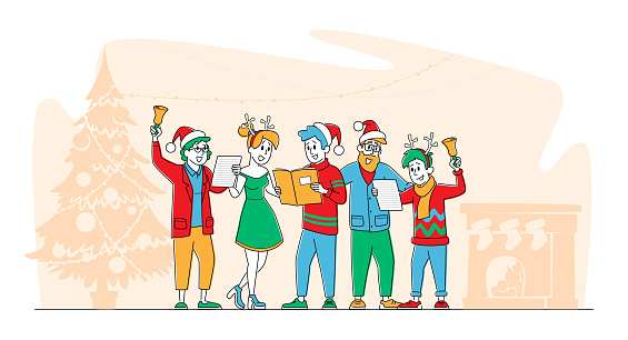 Christmas Characters in Santa Claus and Reindeer Hats Singing Xmas Carols Holding Song Books and Ringing Bell, Eve Night