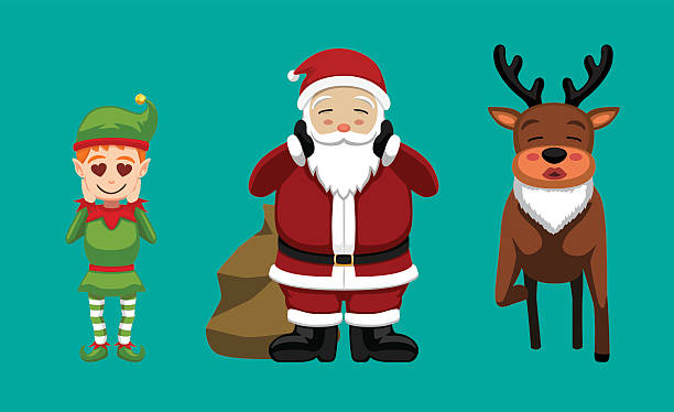 illustrazioni stock, clip art, cartoni animati e icone di tendenza di christmas characters set cartoon vector illustration 9 - kids kiss embarrassed