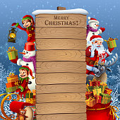 Christmas Characters. Wooden signboard.