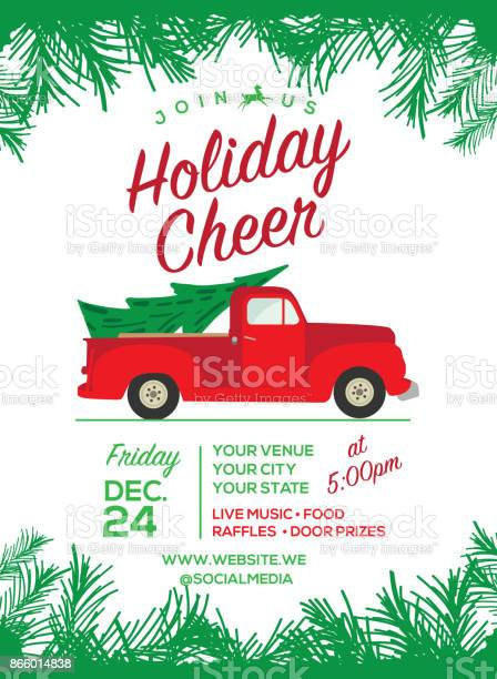 Old Red Truck With Christmas Tree In Back.Merry Christmas Red Truck Christmas Festive Free Photo