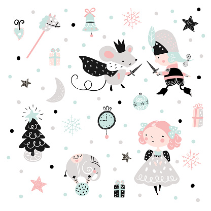 Christmas childish pattern with nutcracker, girl and mouse king.