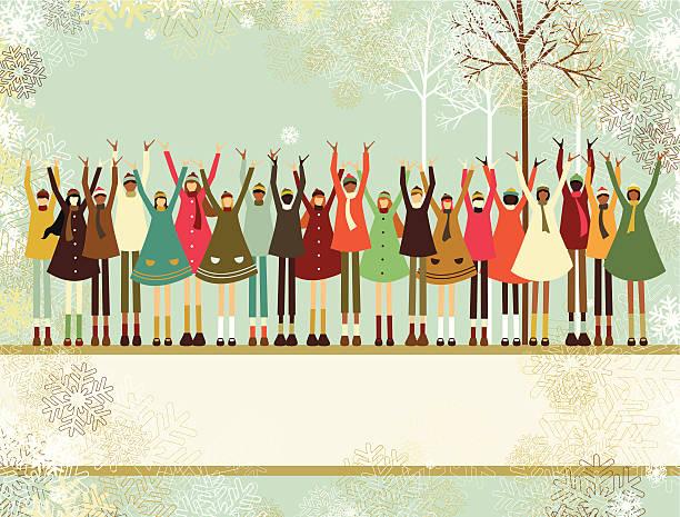 Christmas children banner vector art illustration