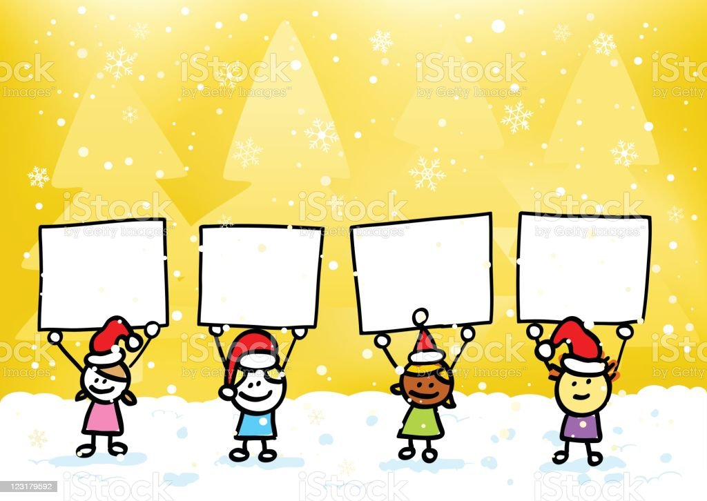christmas children friends holding blank banner snowing winter cartoon illustration royalty-free christmas children friends holding blank banner snowing winter cartoon illustration stock vector art & more images of backgrounds
