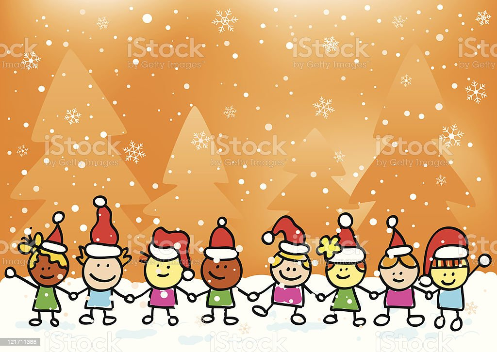 Christmas children holding hands royalty-free stock vector art