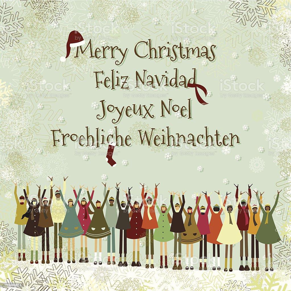 Biglietti Di Auguri Di Natale Per Bambini.Biglietto Di Auguri Di Natale Bambini Multietnico Lingua