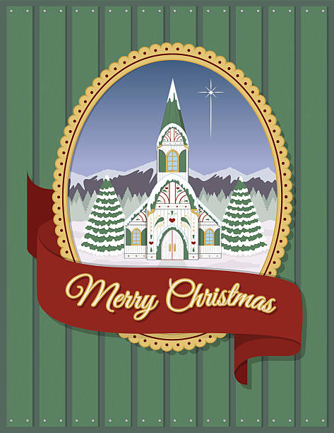 Christmas church greeting card vector art illustration