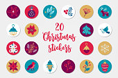 Christmas circle stickers with ball, poinsettia, leaves, holly, berry, deer, acorn, bird, lantern, snowflake, star, fir tree. Perfect for winter holidays