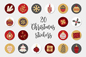 Christmas circle stickers with fir branch, leaves, snowflake, cone, acorn, ball, gift, holly, bauble, berry. Perfect for winter holidays