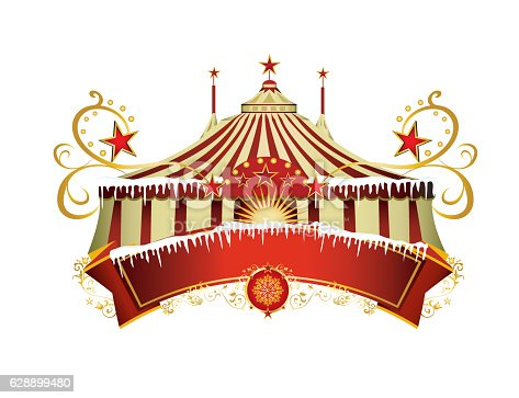 istock Christmas circus sign 628899480