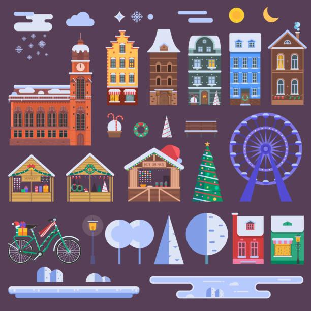 weihnachtsstadt-konstruktor - skihütte stock-grafiken, -clipart, -cartoons und -symbole
