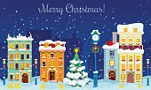 Christmas Cityscape with Snowfall, Houses and Christmas Tree Greeting Card