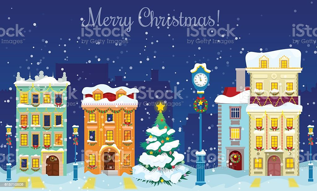 Christmas Cityscape with Snowfall, Houses and Christmas Tree Greeting Card vector art illustration
