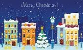 Christmas Cityscape with Snowfall, Houses and Christmas Tree Greeting Card