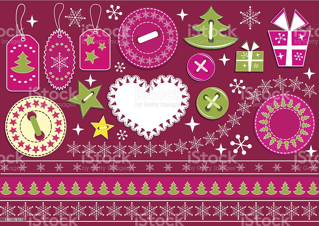 Christmas collection for scrapbook. royalty-free christmas collection for scrapbook stock vector art & more images of button - sewing item