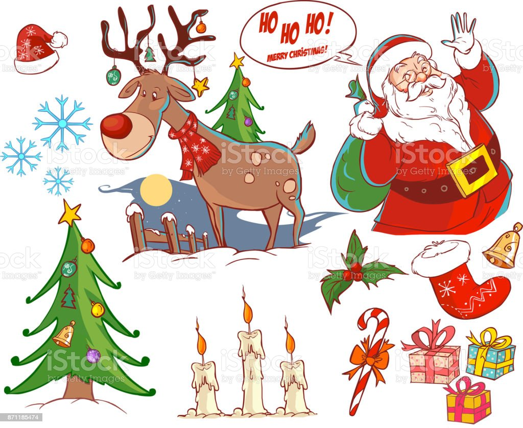 Christmas Collection New Year Colorful Sketches Set Cute Santa