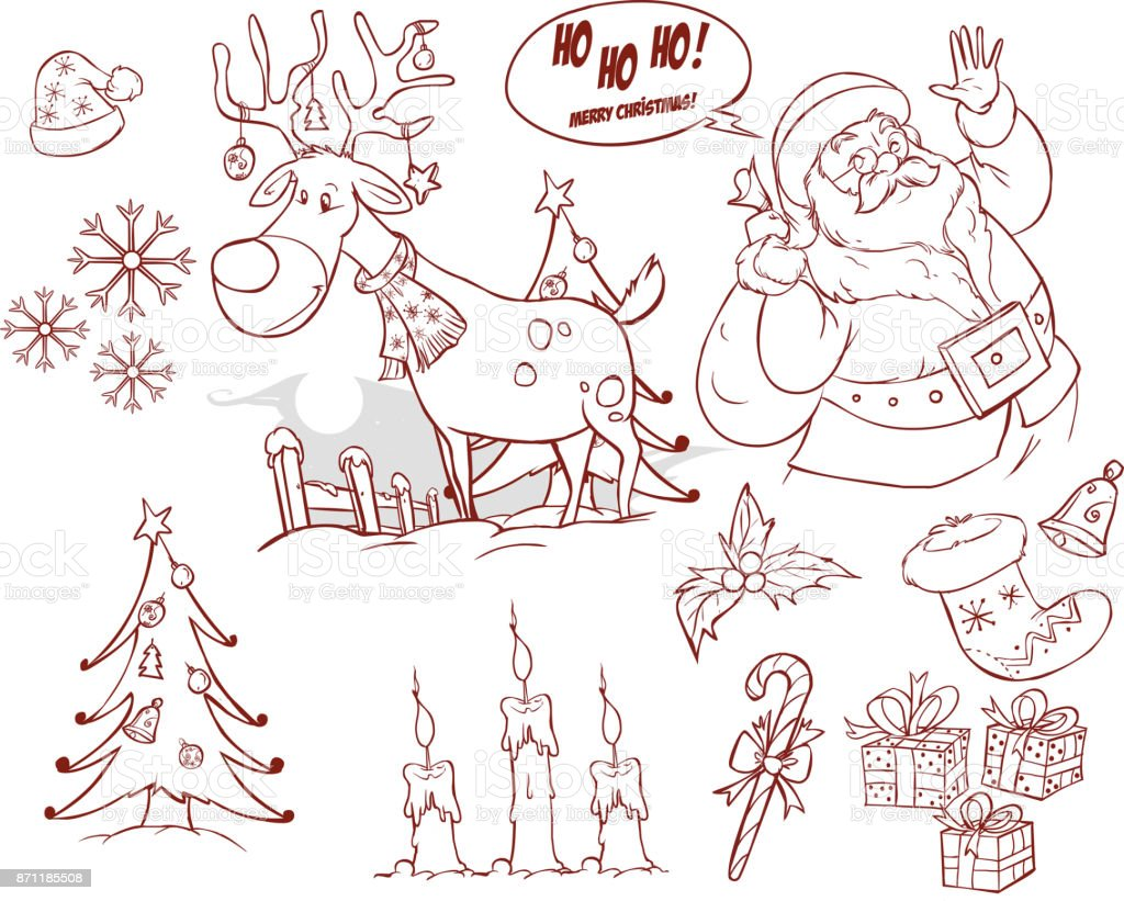 Christmas collection. New year colorful sketches set. Cute santa claus, tree, gift, mittens, candle, snowman, socks and other signs vector art illustration