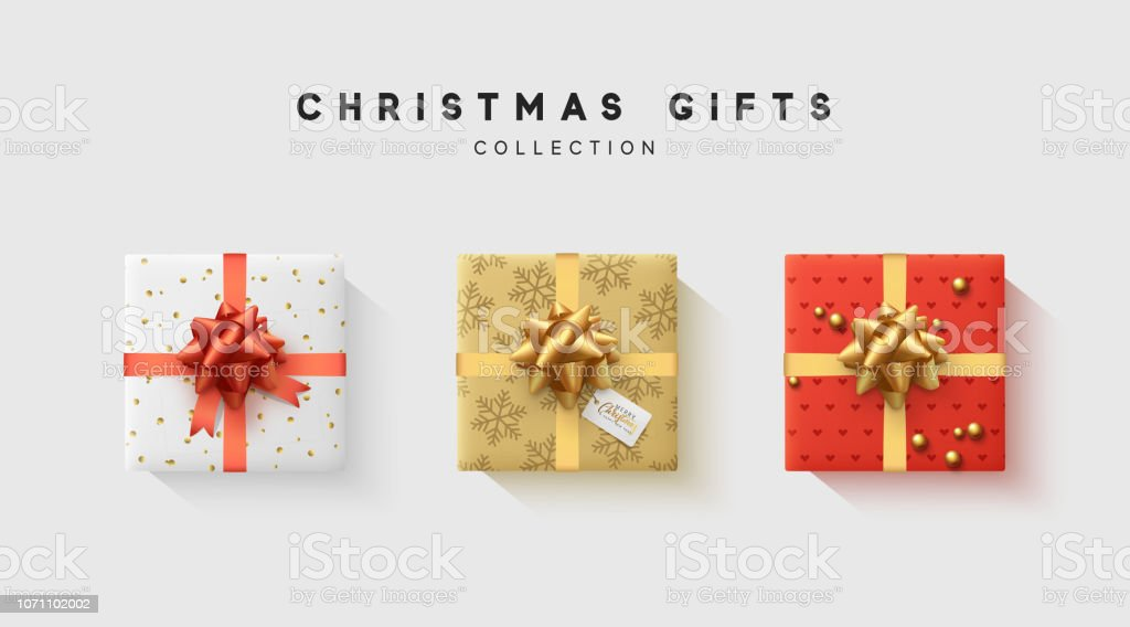 Christmas collection of gift box with bow and ribbon, is packed in...
