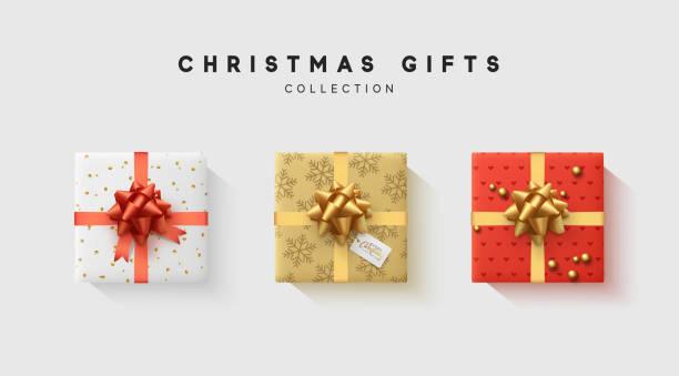 stockillustraties, clipart, cartoons en iconen met kerst collectie van geschenkdoos met lint, pijl en boog is verpakt in grappige folie patroon winter - christmas presents