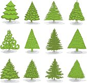 A collection of twelve hand drawing realistic, abstract and stylized Christmas tree in green. File contain EPS8 and large JPEG.