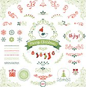 Ornate Christmas collection. Swirl elements with Holly Berry, snowflakes, Christmas balls, socks, bird, gift box, pattern brushes, Christmas tree, bell, banner and other vector illustrations.
