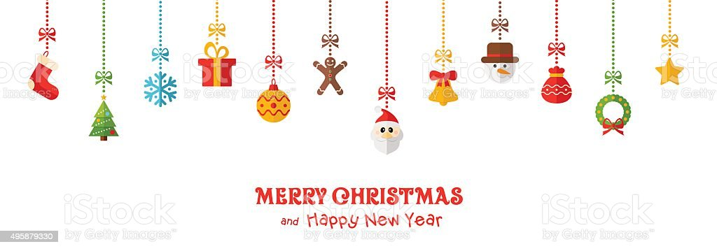 Christmas Colored Hanging Elements and Greeting Text - illustration vector art illustration
