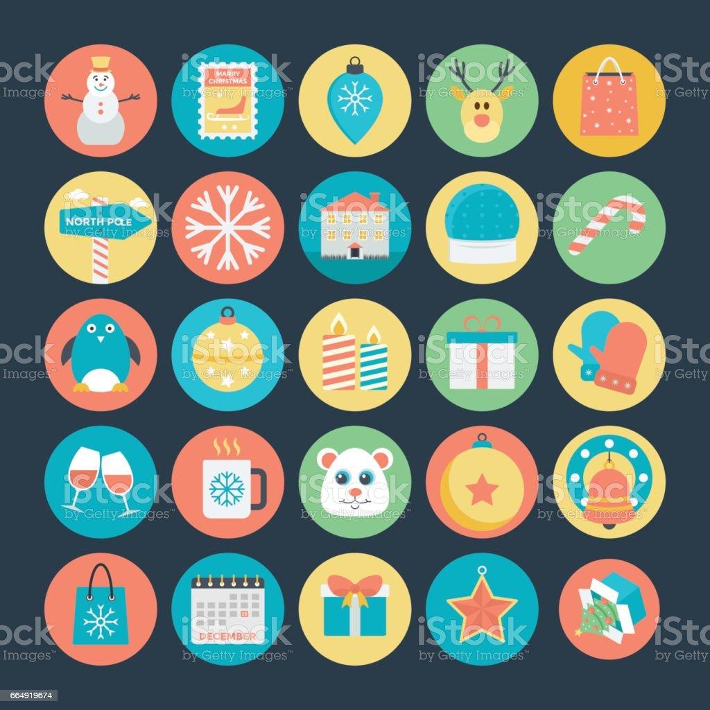Ilustración de Navidad De Color Los Iconos Vector 2 y más banco de ...