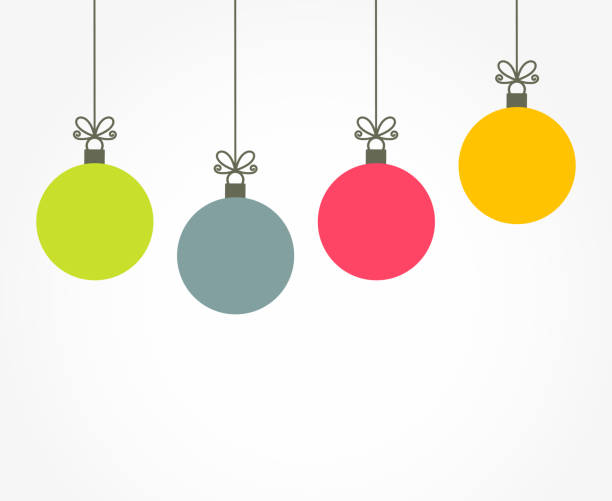 Christmas colorful balls hanging ornaments Christmas colorful balls hanging ornaments. Vector illustration christmas icons stock illustrations