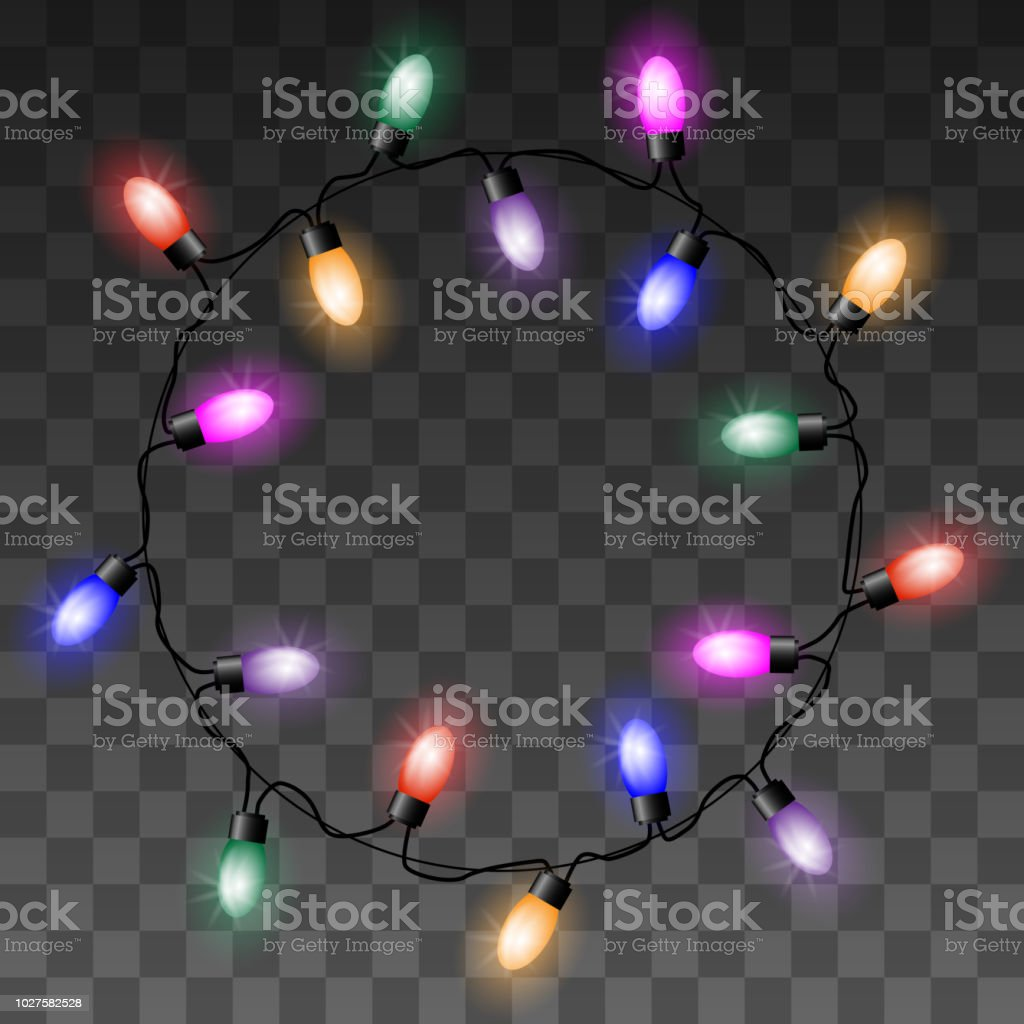 Christmas Colorful Lights Vector Circle Set On Transparent