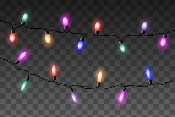 christmas colorful lights vector set on transparent background. - light strings stock illustrations, clip art, cartoons, & icons