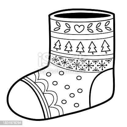 istock Christmas coloring book or page. Sock black and white vector illustration 1324978294