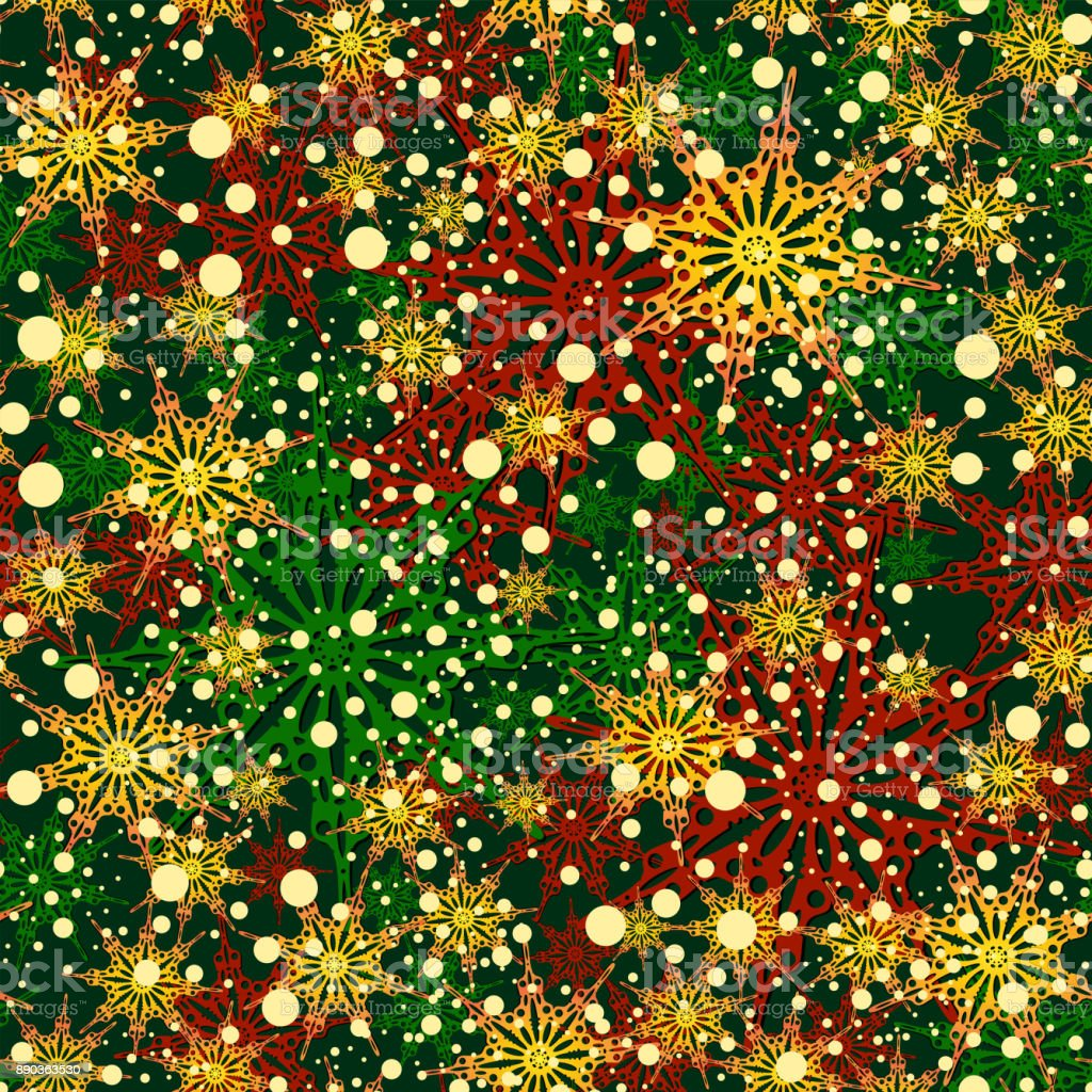 Christmas colors snowflakes background vector art illustration