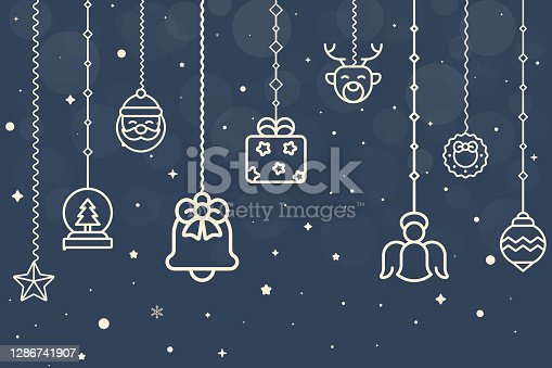 istock Christmas Composition. Icons on Dark Blue Background. Christmas, Snowflakes, Winter, New Year's Eve Template Concept. Vector Illustration. 1286741907