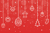 Christmas Composition. Icons on Red Background. Christmas, Snowflakes, Winter, New Year's Eve Illustration.