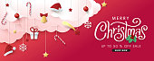 Christmas composition in paper cut style sale banner background.Merry Christmas text Calligraphic Lettering Vector illustration.