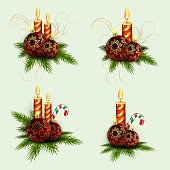 Christmas composition of spruce green branches, burning candles and balls with golden snowflakes with a staff, set, design element.