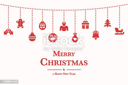 istock Christmas Composition. Red Icons on Light Background. Christmas, Snowflakes, Winter, New Year's Eve Template Concept. Vector Illustration. 1288801440