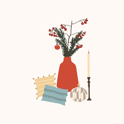 Christmas composition with decor vase and spruce branches, sofa cushions and candles. Winter holiday new year season card. Vector illustration in hand drawn cartoon flat style
