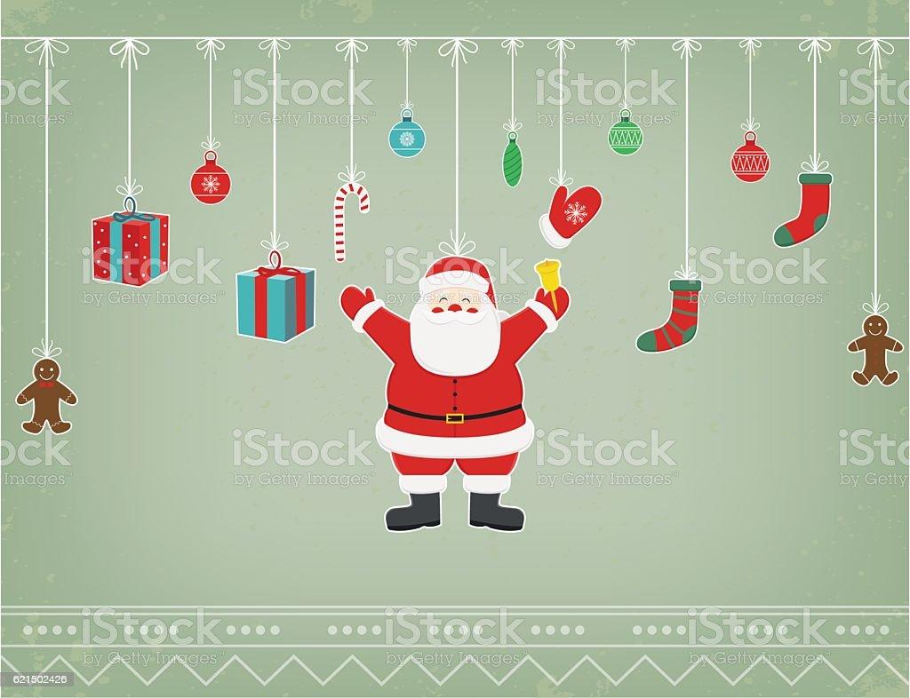 Christmas composition with funny christmas characters and decoration elements. Vector Lizenzfreies christmas composition with funny christmas characters and decoration elements vector stock vektor art und mehr bilder von altertümlich